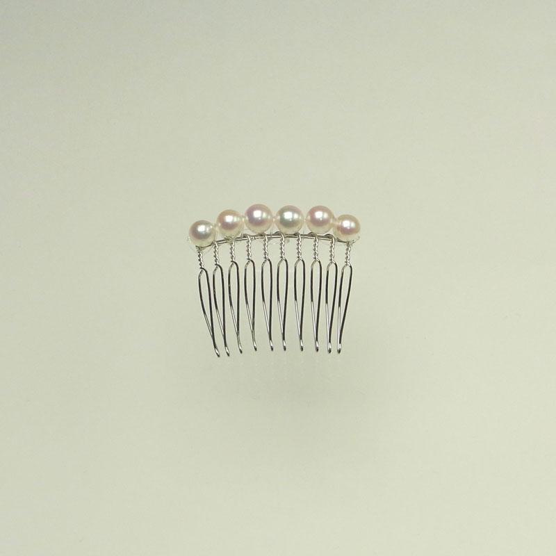 贅沢な髪飾り 本真珠コーム6mm Sパーティーに謝恩会に 【あこや真珠】