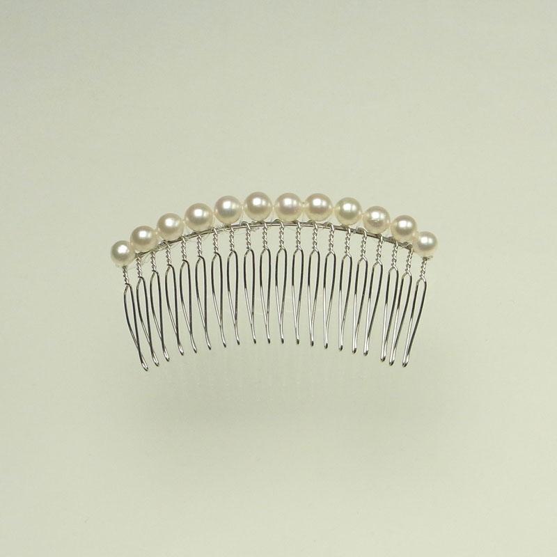 髪飾り 本真珠コーム6mm L パーティーに謝恩会に 【あこや真珠】