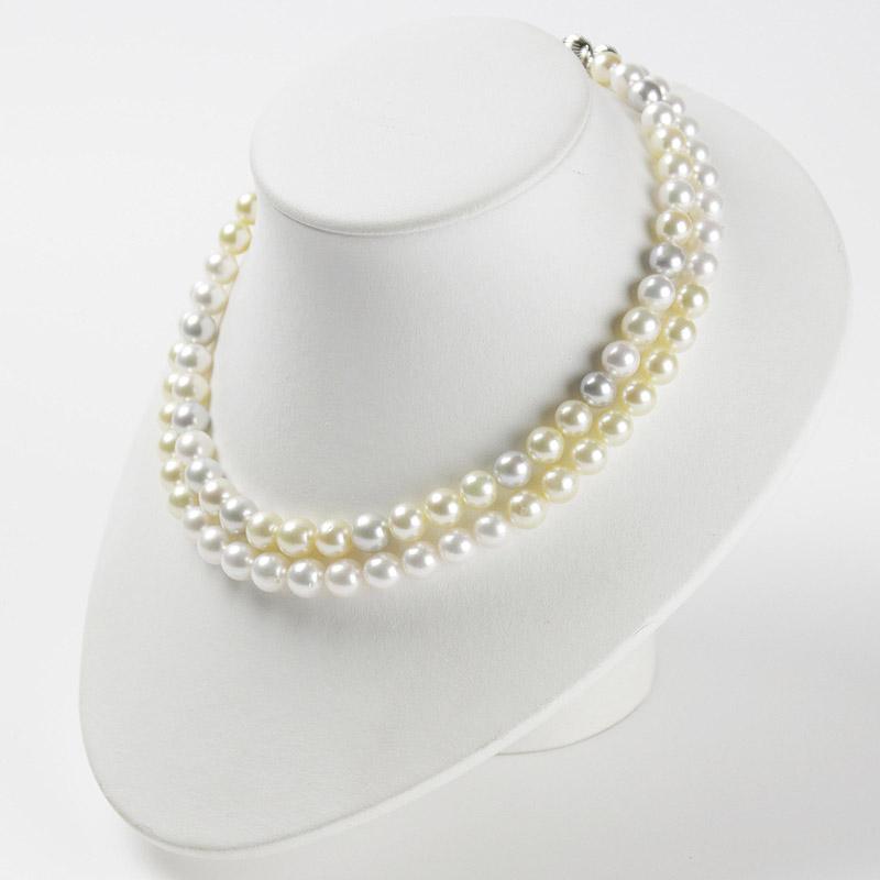 真珠のカラーがお洒落な二連ネックレス 個性的マルチカラー大珠 7.8mm−9.5mm 留め金マグネットタイプ【あこや真珠】