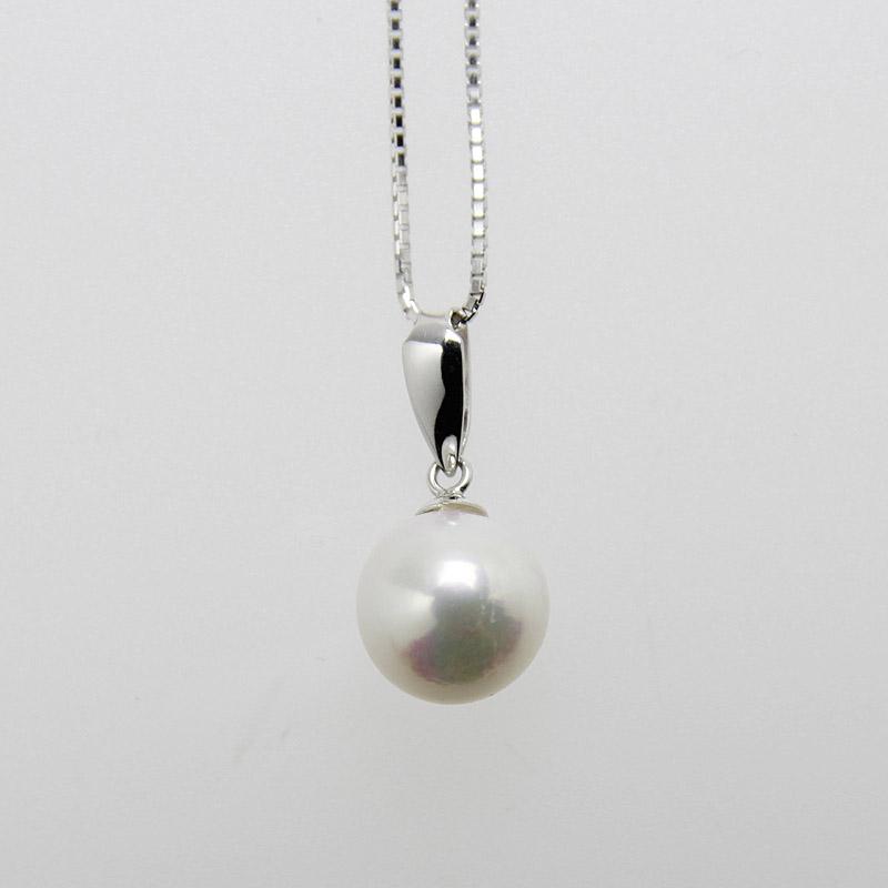 珠玉の9mmの一粒真珠ペンダントWG DXボックス付き【あこや真珠】