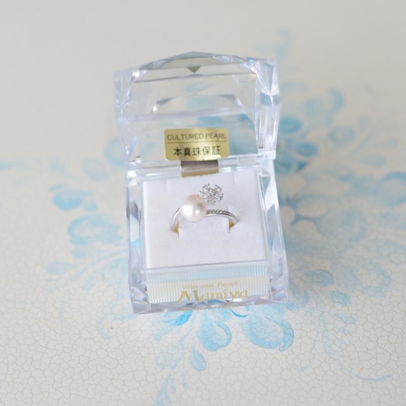 【送料無料】【あこや真珠】7�珠フリーサイズのリング