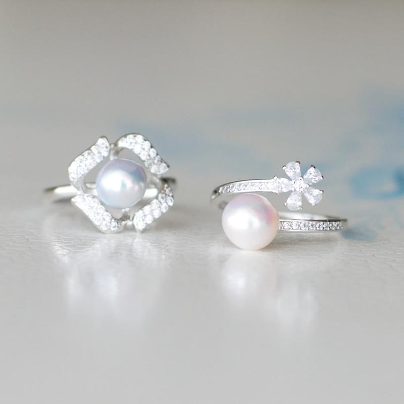 【送料無料】【あこや真珠】7�珠ブルーパールのフリーサイズリング