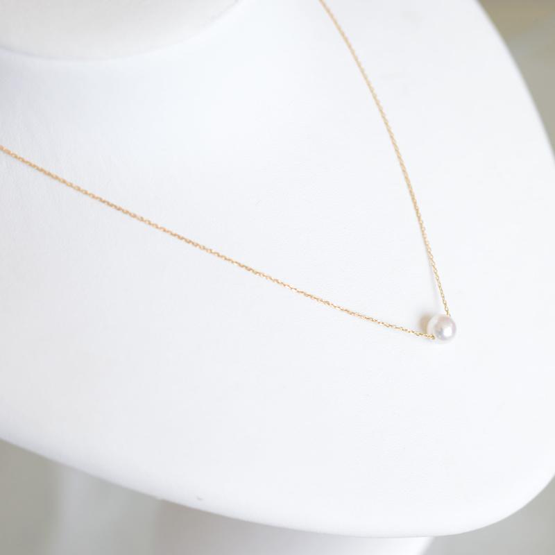 K18  艶々あこや真珠 珠玉の7�珠一粒スルーペンダント【あこや真珠】受注生産