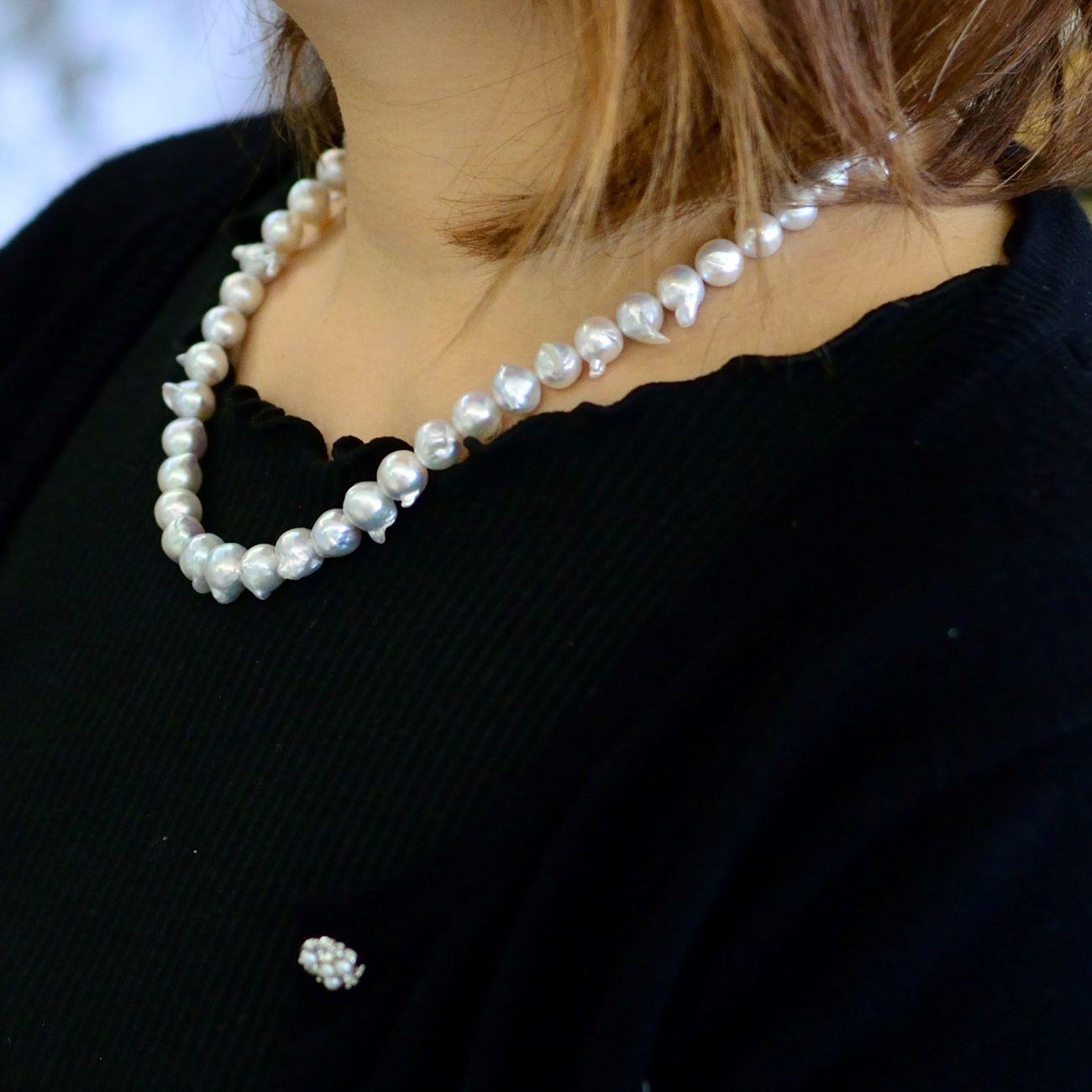ナチュラルブルーの天使の羽ネックレス7.5-9.5�【あこや真珠】ND-1672