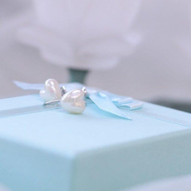 希少【ハートのあこや真珠】イヤリング_スタットタイプ【あこや真珠】E-2244