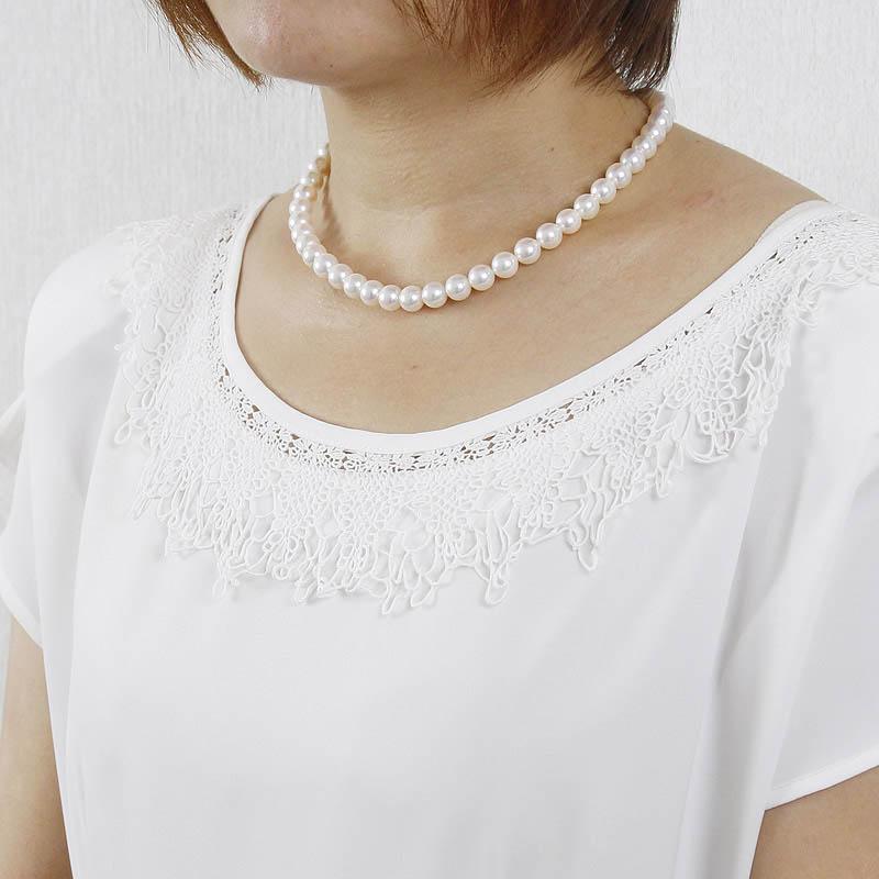 養殖場が手放したく無い至宝のネックレス。緻密に巻いた照り艶逸品大珠ホワイト系ピンクが鮮や8.5mm−9mmネックレス【あこや真珠】