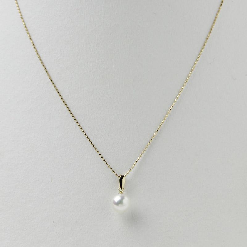 珠玉の7�珠一粒ペンダントK18 【あこや真珠】