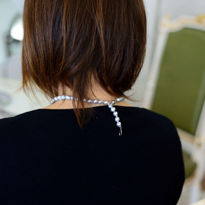 ゆったり長さのブルー系8�-8.8�ネックレス【あこや真珠】ND_1671