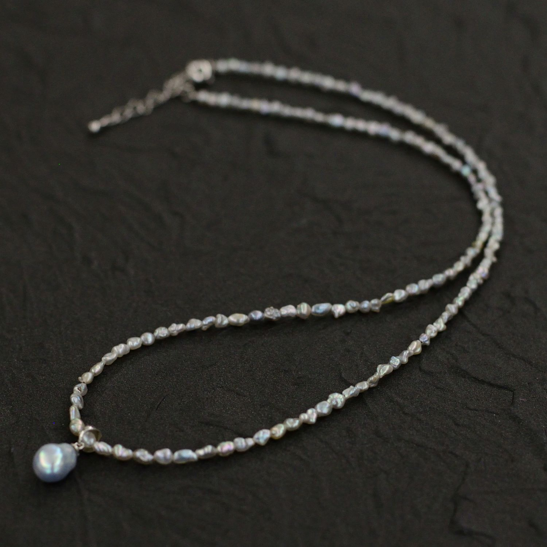 ゆったり長さのケシパールネックレス・8�珠ペンダント付き【あこや真珠】ND_1678