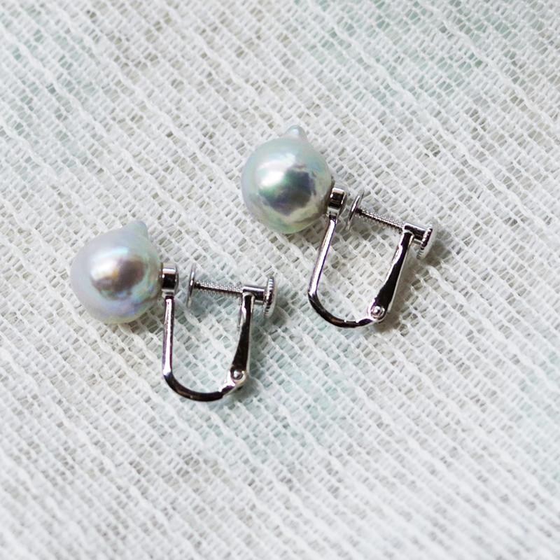 ペア珠探すの難しいナチュラル9�UPバロック真珠のイヤリング-A【ネット限定】