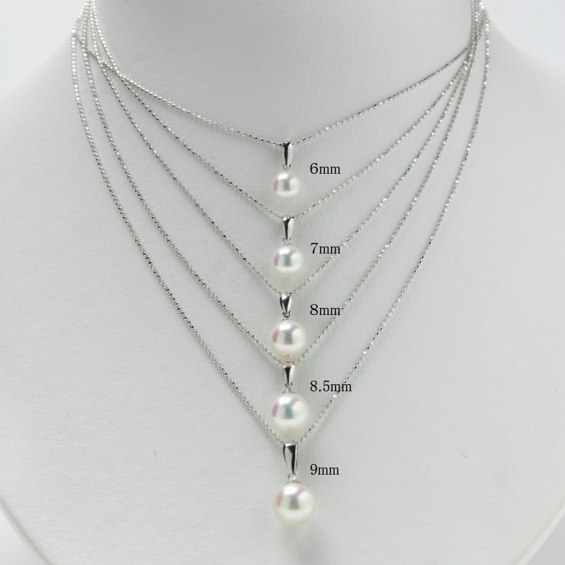 珠玉の8.5mm前後の一粒真珠ペンダントWG 【あこや真珠】