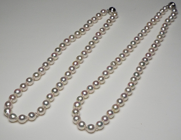 ペンダントトップ付き艶々ピンクの一連ロングになる二連ネックレス7mm−8mm 【あこや真珠】