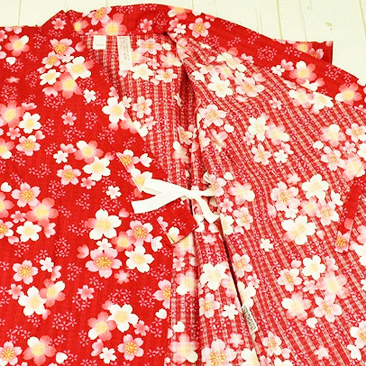 【日本製】桜柄はしごレース付甚平スーツ