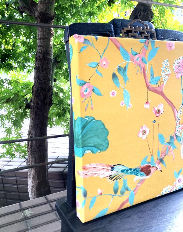 花鳥風月のシノワズリーパネル 《ブルーバード/イエロー》