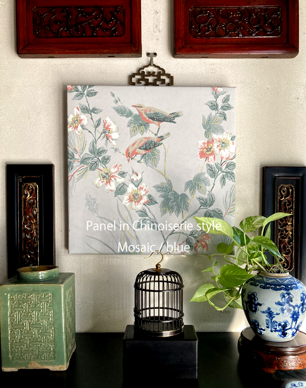 花鳥風月のシノワズリーパネル 《モザイコ/ペールブルー》