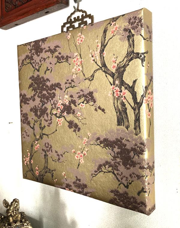 花鳥風月のシノワズリーパネル 《松&梅/ゴールド》