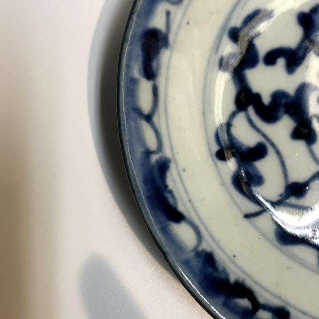 アンティーク染付け皿 〜藍唐草14