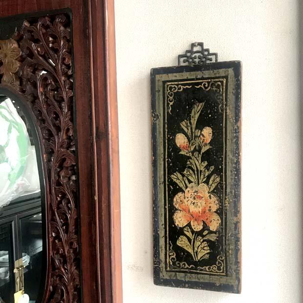 ハンドペインティング壁飾り  *ブルーフラワー
