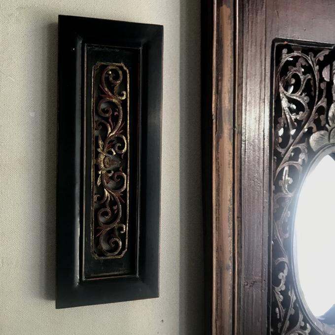 アンティーク木彫刻   壁掛け/ペア *唐草