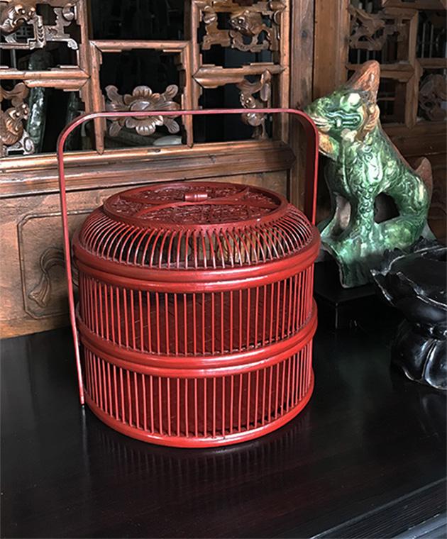 竹製 二段式バスケット 2色あり アンティークレッド/朱赤