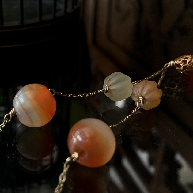 5種のアンティーク瑪瑙のネックレス