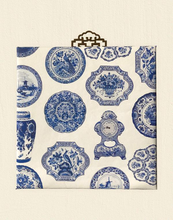 花鳥風月のシノワズリーパネル 《ブルー&ホワイト》