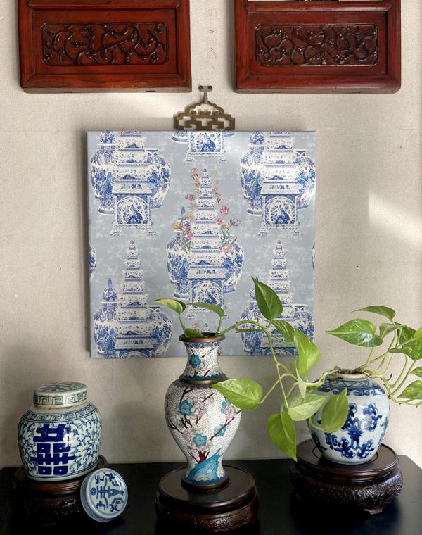 花鳥風月のシノワズリーパネル 《ブルー&ホワイト&フラワー》