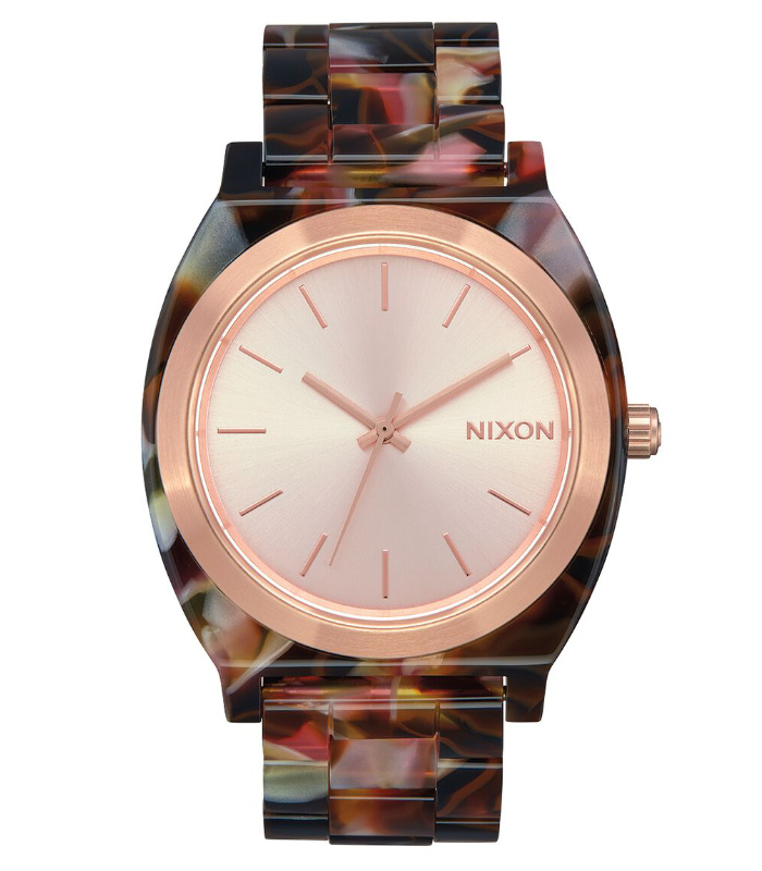 NIXON ニクソン 腕時計 THE TIME TELLER ACETATE - Rose Gold/Pink Tortoise - A327-3233 タイムテラーアセテート ローズゴールド/ピンクトートイズ アナログ時計 べっ甲 100M/10気圧防水 レディース 誕生日 クリスマス プレゼント