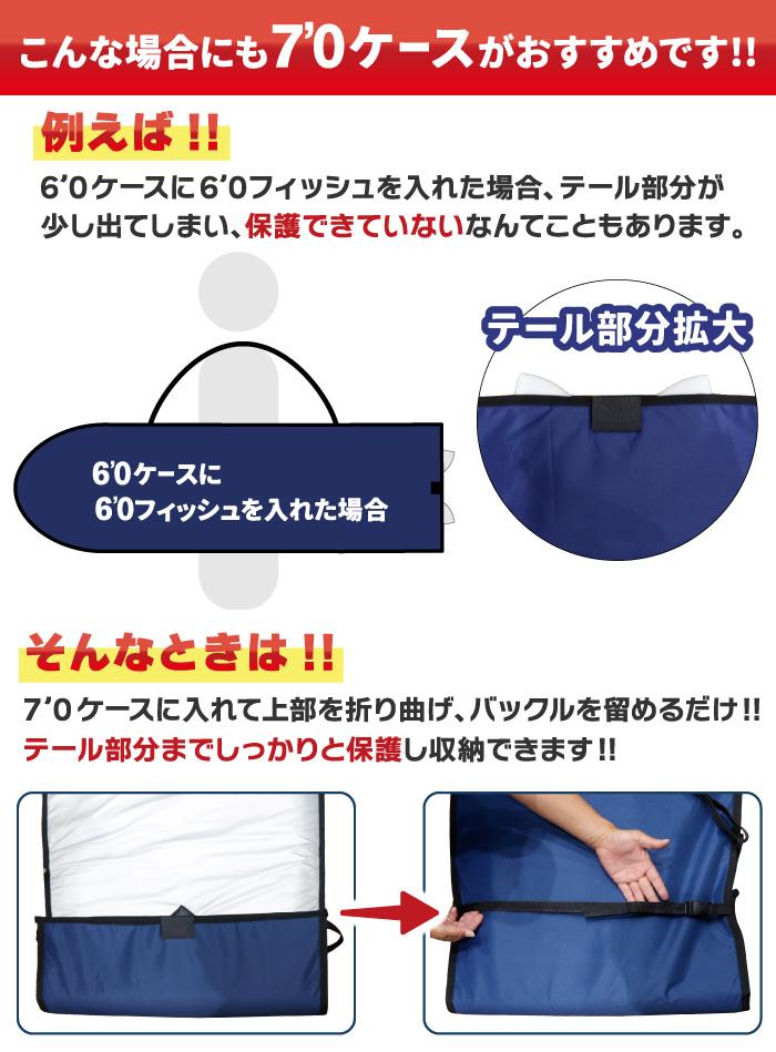 """サーフボードケース ファンボード用 NOGES ノージス ハードケース 7'0"""" ミッドレングス用 サーフィン"""