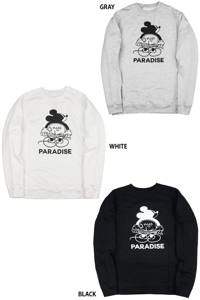 PARADISE NYC パラダイスニューヨーク メンズ トレーナー MICKEY MOON CREW トップス スウェット 裏起毛 ミッキー キャラクター 男性用