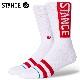 STANCE SOCKS スタンスソックス メンズ靴下 OG - White/Red スケーターソックス ハイソックス メンズソックス