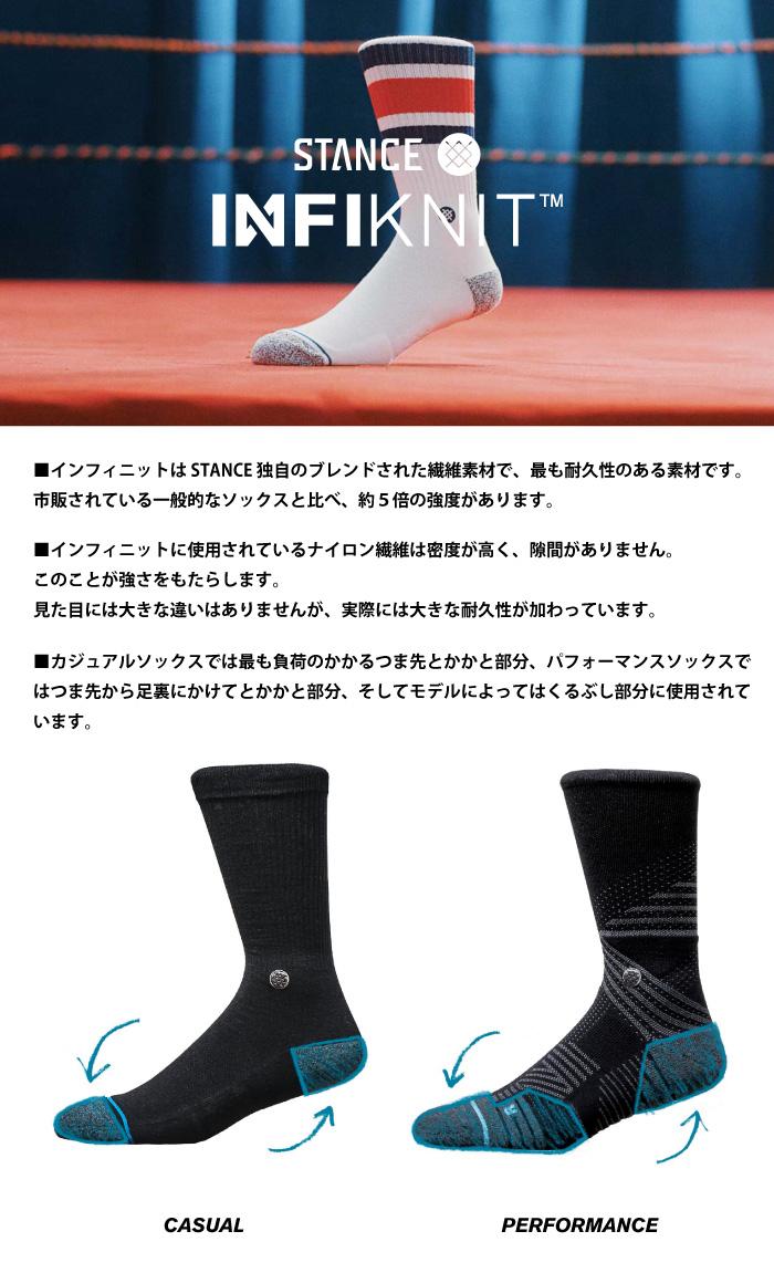 STANCE SOCKS スタンスソックス メンズ靴下 KUKIO - Black - INFIKNIT インフィニット スケーターソックス ハイソックス メンズソックス