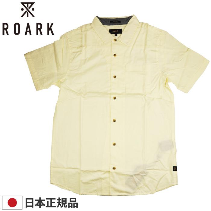 ROARK REVIVAL ロアーク リバイバル メンズ 半袖シャツ RW472 WELL WORN ORGANIC WOVEN トップス 半袖 襟付き ボタン オーガニックコットン 綿100% 無地 男性用