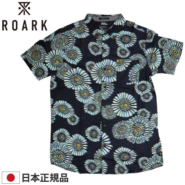 ROARK REVIVAL ロアーク リバイバル メンズ 半袖シャツ RW486 JUST DREAMING WOVEN トップス 半袖 襟付き ボタン 総柄 オーガニックコットン 綿100% 花火 男性用