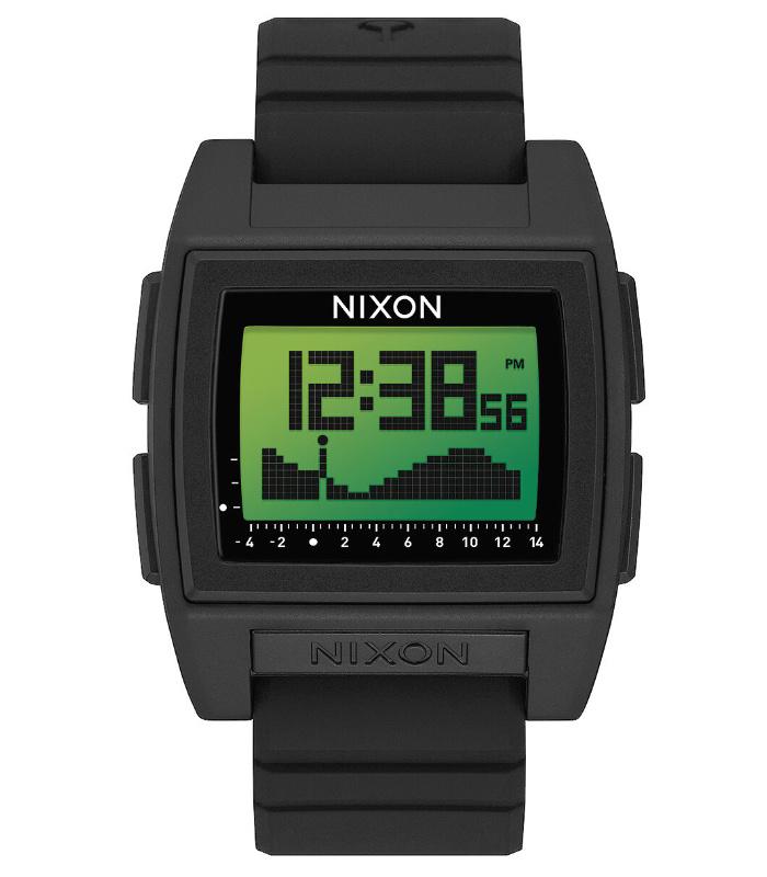NIXON ニクソン 腕時計 THE BASE TIDE PRO - Black/Green Positive - A1307-3327 ベースタイドプロ ブラック デジタル時計 タイドグラフ クロノグラフ 100M/10気圧防水 メンズ サーフィン アウトドア 誕生日 クリスマス プレゼント