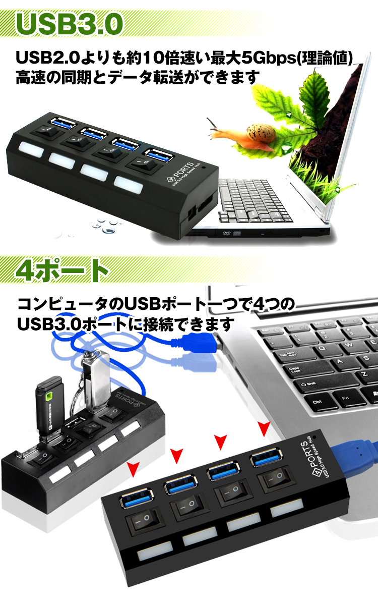 4ポートUSB3.0ハブ mb064