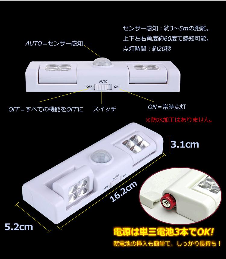 人感センサー付きLEDライト zk061