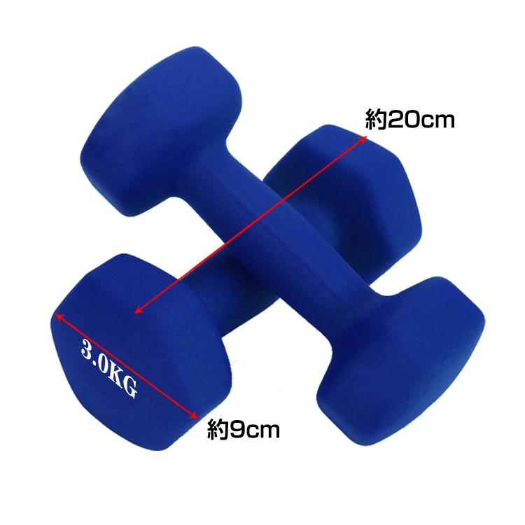 カラーダンベル 3kg 2個セット de096