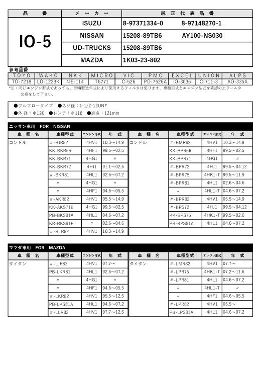オイルフィルター IO-5 いすゞ/ニッサン用