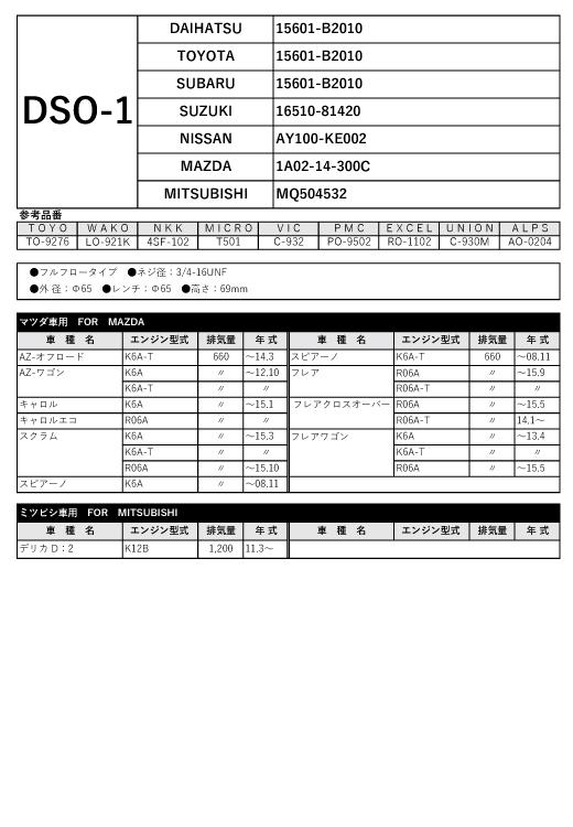 オイルフィルター DSO-1 ダイハツ/トヨタ用