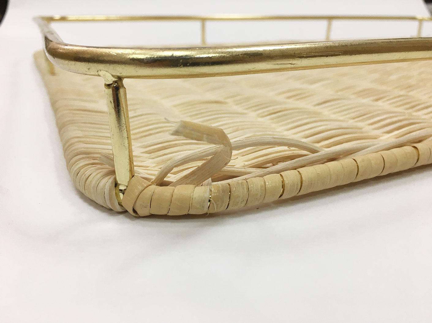 籐枠付きすのこ角(大)ゴールド(OUTLET商品)