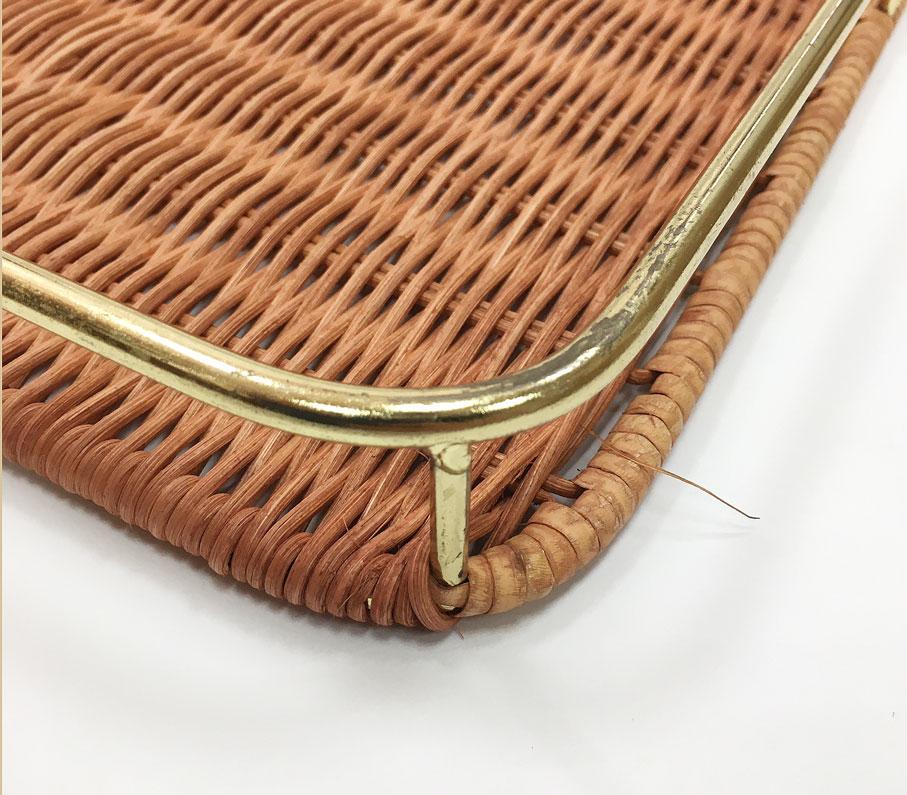 籐枠付きすのこ茶角(小)ゴールド(OUTLET商品)