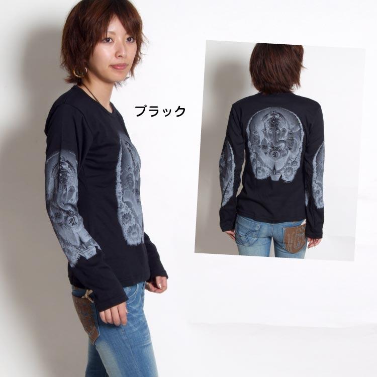 モノクロの配色がCOOL☆ガネーシャロングTシャツ