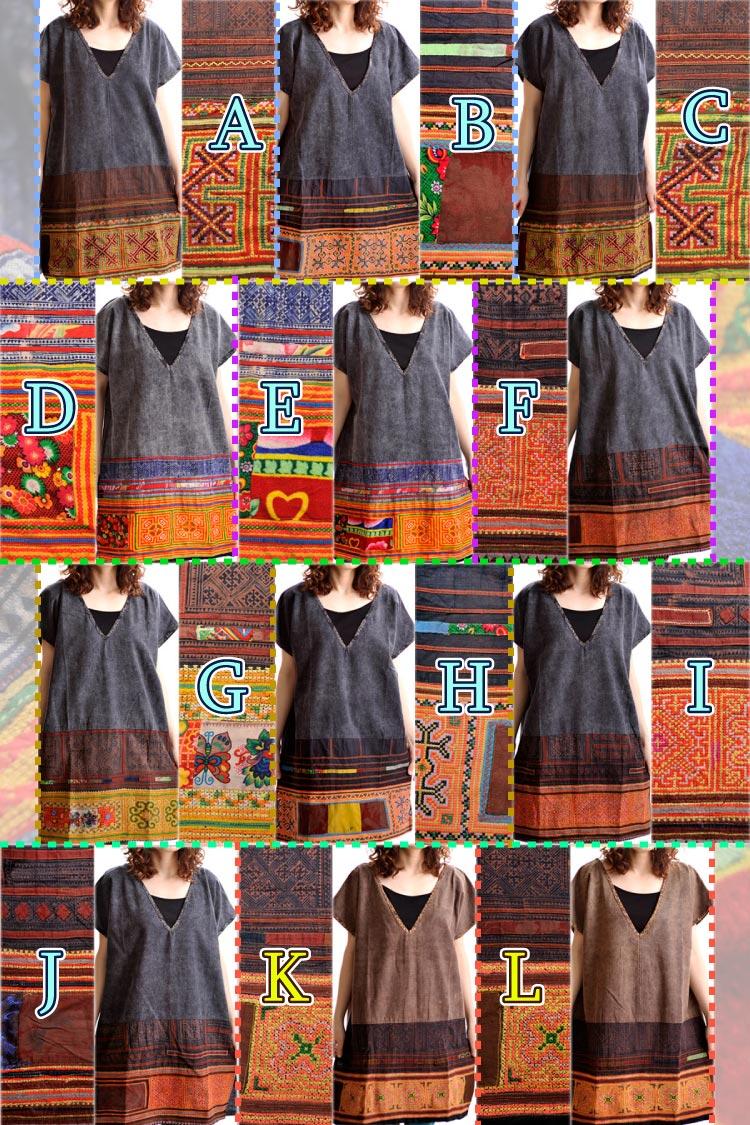 送料無料:モン族刺繍ショートスリーブ♪チュニックワンピース