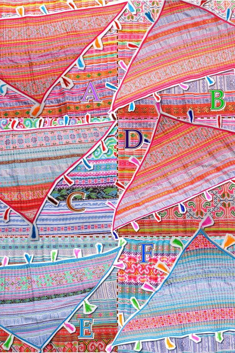 送料無料:鮮やかモン刺繍♪トライアングルショール