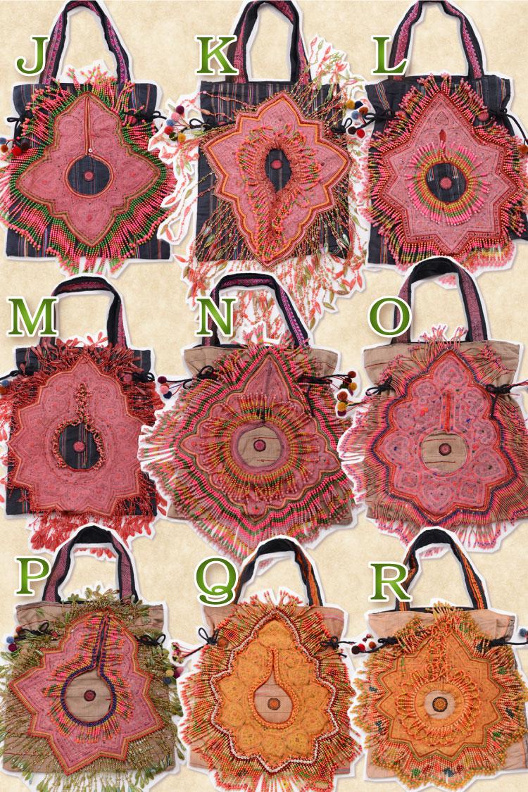 送料無料:モン族刺繍とビーズしゃらりん♪ハンドメイドにときめくオンリーワントートバッグ♪T@D0203
