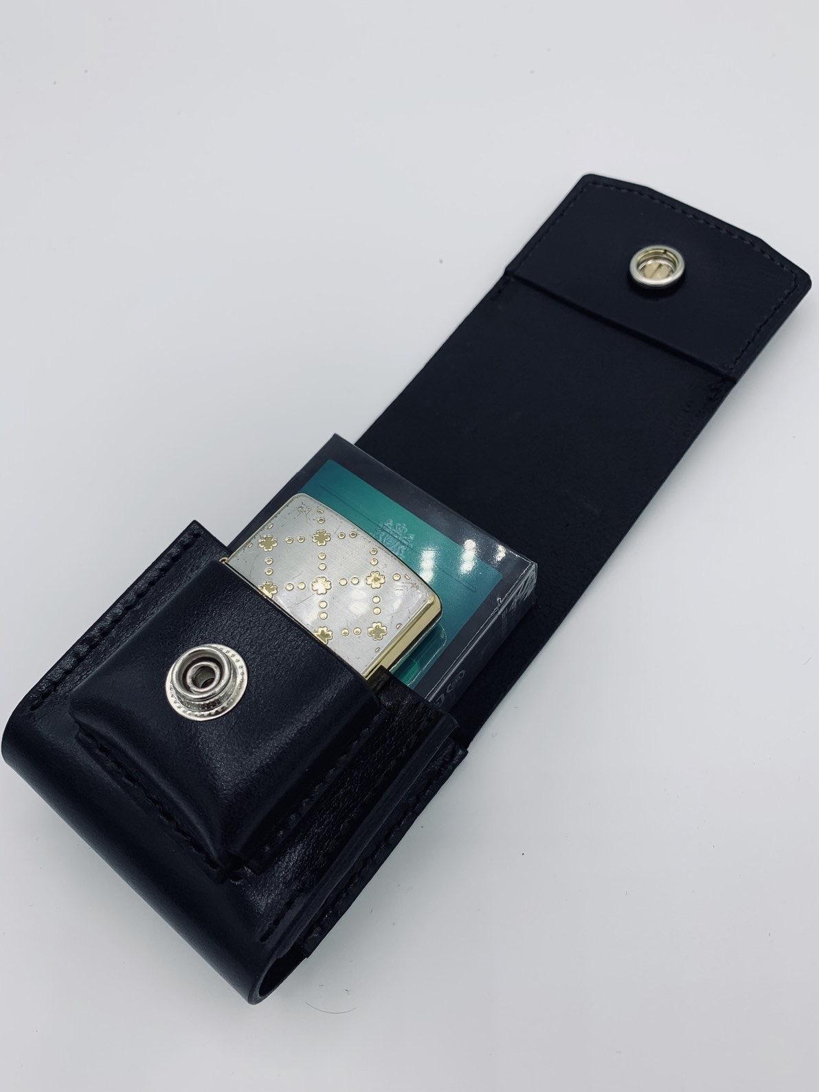 【ジッポ収納付】イタリアンレザーのタバコケース(ブラック)