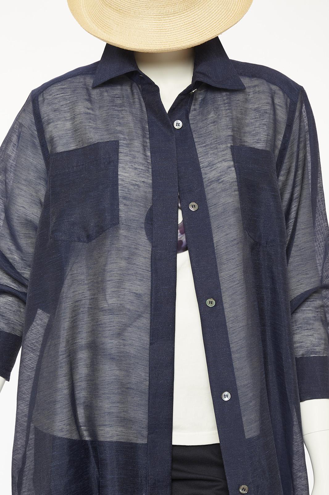 麻レーヨンコードシアーシャツ