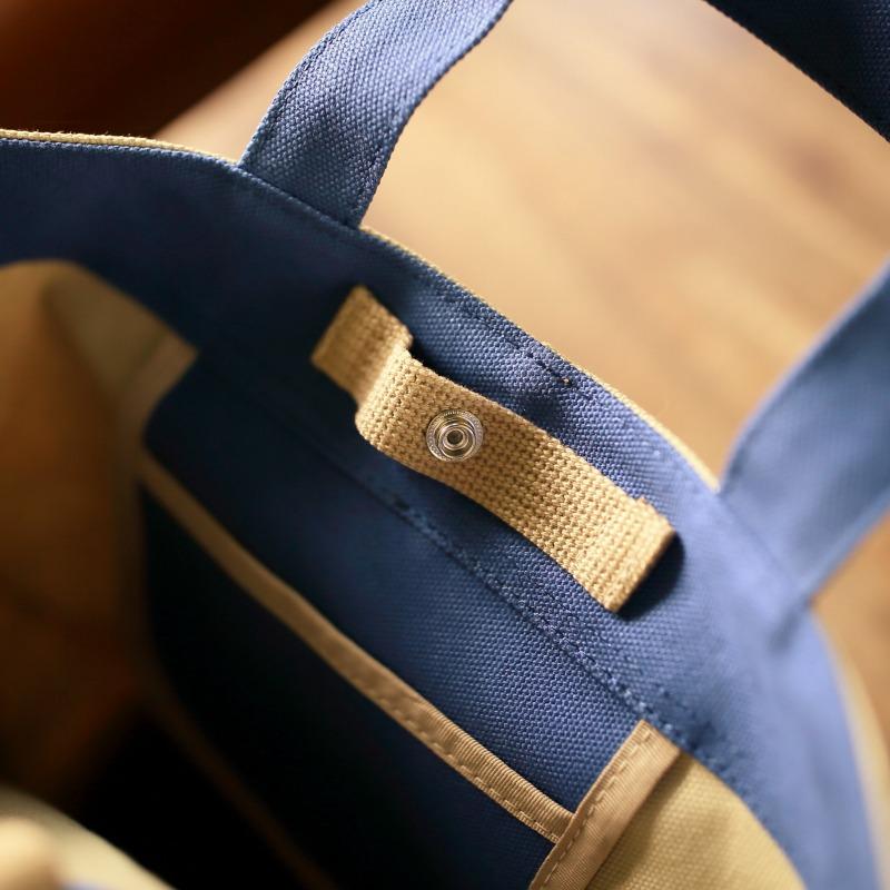 ビーカー型トートバッグ(ベージュ&ブルー)