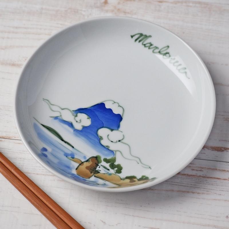 相州三浦秋谷の里 手描き絵皿【A】雲